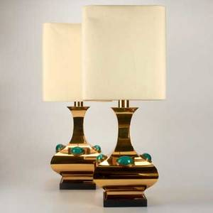 Anthony redmilepair of brass and malachite table lamps london late 20th cunmarkedeach overall 34 x 14 sq