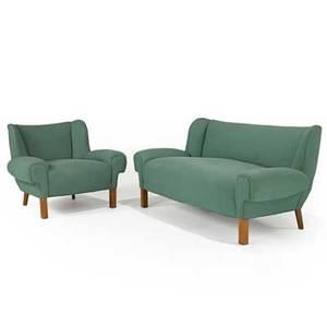 Paul laszloherman millersettee and club chair zeeland michigan 1950supholstery and woodunmarkedsettee 28 x 64 x 31 club chair 28 x 36 12 x 31