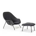 Eero saarinenknoll associateswomb chair and ottoman usa 1950supholstery and enameled steelunmarkedchair 36 x 39 x 32