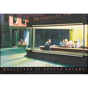 Poster with neon framedcolor poster after boulevard of broken dreams by helnweinwith two neon inserts29 x 31