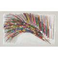 Simon kennedy 20th cpainted peacock feather on handmade sculpted paper 1989 framedsigned and dated39 x 66 irregular