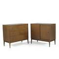 Paul mccobbwinchendonplanner group twodoor cabinet and dresser usa 1950sstained birch and brass each 33 12 x 36 x 18