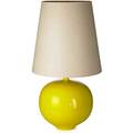 Americanlarge table lamp 1960sglazed ceramic walnut linenunmarkedoverall 40 x 21 dia