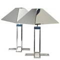 C jereartisan housepair of table lamps los angeles 1977chromed steel each with two socketssigned and datedoverall 27 x 17 14 sq