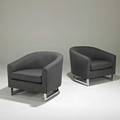 Milo baughmanthayer cogginpair of club chairs high point nc 1960schromed steel and upholsteryunmarkedeach 27 12 x 31 x 35