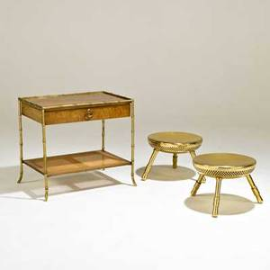 Bakersofa table together with pair of stools usa 1960swalnut brass and canetable brandedtable 22 x 24 x 16 12 each stool 11 x 14 12 dia