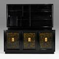 James montcabinet new york 1960slacquered and gilt wood leather glassunmarked70 14 x 72 x 18 14