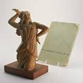 Emile bracquemondterra cotta sculpture of dancing woman on wood basetogether with folio france ca1940signed e bracquemond14 34 x 8 34 x 5 34
