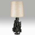 Marcello fantonisculptural table lamp italy 1960storch cut textured and patinated steel jute single socketoverall 40 x 15 12
