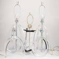 Lucitefive table lamps two pairs one single 1960sfoil astrolite label to oneeach 17 12 x 13 12 x 10