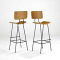 Tony paulpair of bar stools usa 1950swicker and enameled steelunmarkedeach 45 x 17 x 21