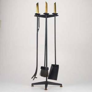 Donald deskeybennettthreepiece fire tool set usa 1950senameled metal and brassunmarkedoverall 34 x 13 x 7