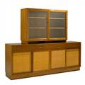 Edward wormleydunbarcabinet and hutch berne in 1960swalnut cane and glassbrass tagoverall 67 x 81 12 x 18