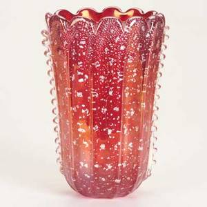 Ercole barovierbarovier  tosofluted glass vase clear over red cased glass with fused silver foil and applied ribbed decorationunmarked8 12 x 6 x 5