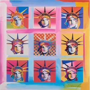 Peter max american b 1937screenprint in colorsnine statues of liberty framedsigned and numbered23 x 23 sight