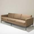 Florence knollknoll associatesthreeseat sofa usa 1960sbronze patinated metal and upholsteryunmarked28 x 90 x 35