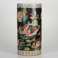 Chinese porcelainumbrella stand with raised decoration of lake scene 19th20th cmarked18 12 x 9