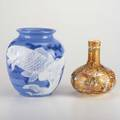 Japanese ceramicstwo vases satsuma and vase with carp19th20th cunmarkedtaller 9 12
