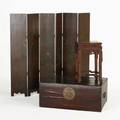 Asian furniturethree items in mixed woods 19th20th c sixpanel screen tabouret with marble insert and storage boxscreen 42 x 51