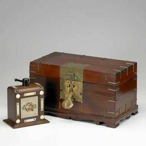 Korean jewelry boxbrass mounted with interior till together with small rosewood press 19th20th cbox 9 x 16 x 9