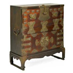 Koreanchest on stand 20th cstained hardwood and brassunmarked43 x 38 x 17