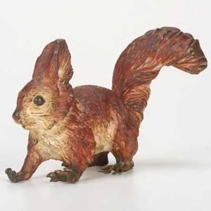 Vienna coldpainted bronzered squirrel 20th cstamped geschutzt deposeoverall 4 x 7 x 3