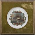 Convex plaqueoil on porcelain of landscape over holly leaves frameddia 17 plaque