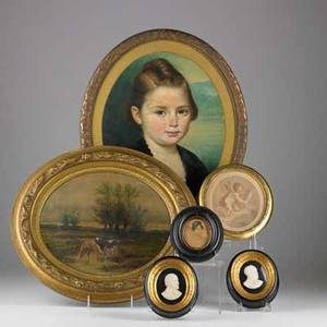 Plaques etcgroup of six richard strauss and gioachino a rossini carved in ivory print of woman oil on board of child print of cupid and oil on board of landscape all framedlargest 14 14 x 1
