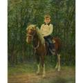 Portrait 20th coil on board of a child and pony in a landscape framedsigned e wending 30 x 25