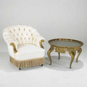 Designertufted lounge chair and tray table 20thcgilt silvered wood and upholsterychair 32 x 34 x 36 table 19 x 31 dia