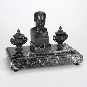 Napoleon desk inkwellbronze and marble 19th20th cunmarked9 x 12 x 7 12