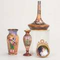 French enamelfour enameloncopper pieces three vases with figures and framed portraitunmarkedtallest 5