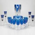 Cobalt glassseventeen pieces 20th c including val st lambert vase twelve wine glasses with twist stems etcsome markedtallest 10