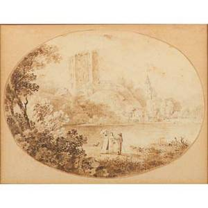 Adrian zingg dutch 17341816ink and sepia wash sketch on paper of a landscape with figures framedsigned3 x 5 oval