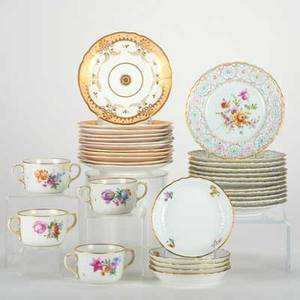 European ceramicsapproximately twentyeight pieces set of twelve meissen dessert plates with reticulated borders set of twelve continental dessert plates and set of four royal copenhagen soup bowls