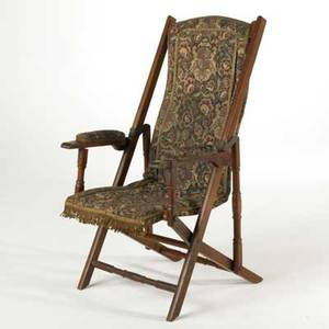 Victoriancarpetseat folding chair late 19th cwalnut wool and metalunmarked42 12 x 27 x 23