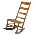 Country furnitureladderback rocker tiger maple rush and ironunmarked39 x 18 x 27