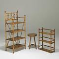 Bamboo furniturethree pieces two shelves and a stool 19th20th clargest 41 12 x 19 x 12