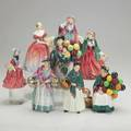 Royal doultoneight figurines 20th c lady betty roseanna lady charmain 2 the balloon seller 2 romany sue and the orange ladyall markedtallest 9