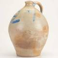 Stoneware jugovoid form with blue decoration 182713 12 x 8 12