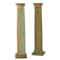 Architectural salvagepair of carved and painted wood columns 20th cunmarkedeach 52 x 11 sq