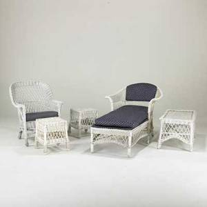 Wickerfive piece suite chaise armchair coffee table and two end tables 20th cunmarkedchaise 33 x 30 x 53