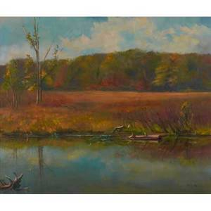 Bertha klandrud souder american 20th coil on canvasthree crows great swamp nj 1964 framedsigned25 x 30 14
