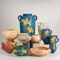 Rosevilleten pieces blue zephyr lily floor vase blue freesia vase and wall pocket three morning glory vases pink snowberry wallpocket and three teasel vesselsall markedtallest 18 12