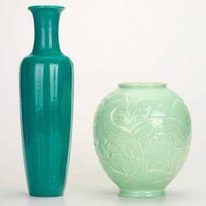 Cowantwo glazed vessels tall reeded vase in greenblue and bulbous vase with landscape and animalsboth stamped cowantallest 14