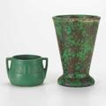 Wellertwo pieces flaring coppertone vase and mat green jardinierecoppertone signedtaller 8 12