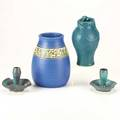 Contemporary arts  craftsfour pieces ephraim pottery vase pair of pewabic candlesticks and reproduction van briggle lorelai vaseall markedtallest 7 12