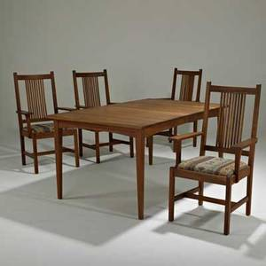 Stickley by ej audicontemporary dining table 910785703 and set of four spindleback dining chairs 910330 12703 manlius ny 2000scherry wood and upholsterybrandeddining table 30 12 x 61