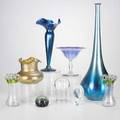 Art glassnine pieces vases paperweights and compotesome markedtallest 22