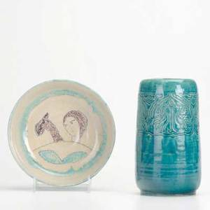 Henry street settlementtwo vessels vase in teal with incised peacock decoration signed comtois and low bowl in crackle glaze with figure signed esc new york 1920sboth markedvase 7 34 x 4